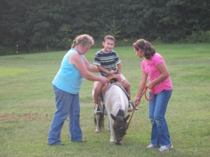 David rides Lovey